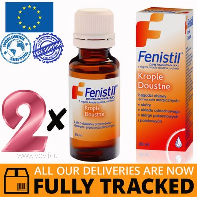 2 x FENISTIL ORAL DROPS 1MG/1ML 20ML — MADE IN SWITZERLAND — FREE SHIPPING