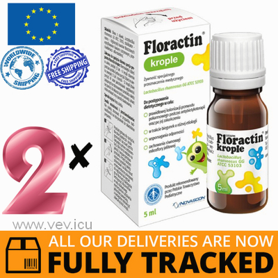 2 x FLORACTIN, ORAL DROPS FOR CHILDREN FROM THE FIRST DAYS OF LIFE, 5 ML - MADE IN POLAND - FREE SHIPPING