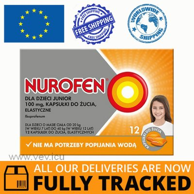 NUROFEN JUNIOR 100 MG, FOR CHILDREN OVER 7 YEARS OLD, ORANGE FLAVOR, 12 CHEWABLE CAPS — MADE IN GREAT BRITAIN — FREE SHIPPING