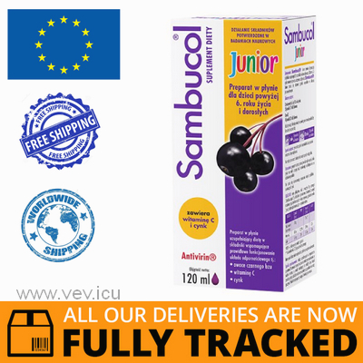 SAMBUCOL JUNIOR (OVER 6 YEARS OF AGE) SYRUP 120ML - MADE IN POLAND - FREE SHIPPING