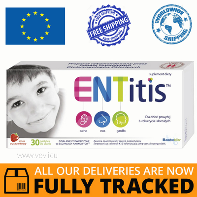 ENTITIS STRAWBERRY 30 TABS — MADE IN POLAND — FREE SHIPPING
