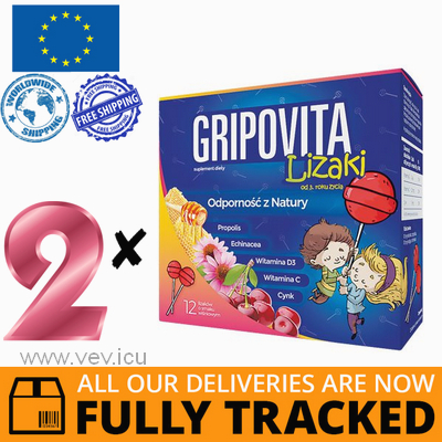 2 x GRIPOVITA LOLLIPOPS (CHERRY FLAVOR) 12 PCS. - MADE IN POLAND - FREE SHIPPING