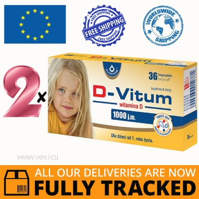 2 x D-VITUM 1000 IU, VITAMIN D FOR CHILDREN AFTER 1 YEAR, 36 CAPS - MADE IN POLAND - FREE SHIPPING