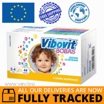 VIBOVIT BOBAS VANILLA FLAVOR 44 SACHETS - MADE IN CZECH REPUBLIC - FREE SHIPPING