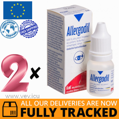 2 x ALLERGODIL EYE DROPS 0.05% 6ML — MADE IN SWITZERLAND — FREE SHIPPING