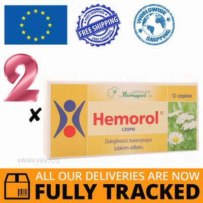2 x HEMOROL 12 SUPPOSITORIES — MADE IN POLAND — FREE SHIPPING
