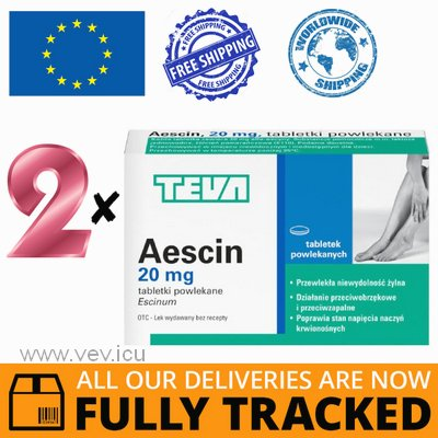 2 x AESCIN 20MG 30 TABS - MADE IN POLAND - FREE SHIPPING