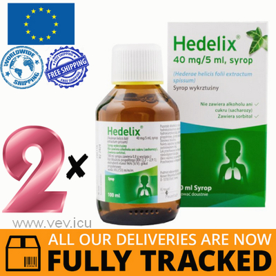 2 x HEDELIX SYRUP 100ML - MADE IN GERMANY - FREE SHIPPING