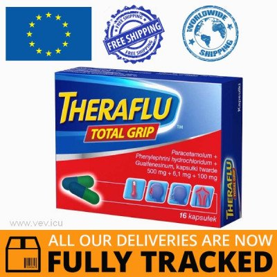 THERAFLU TOTAL GRIP 16 CAPS — MADE IN POLAND — FREE SHIPPING