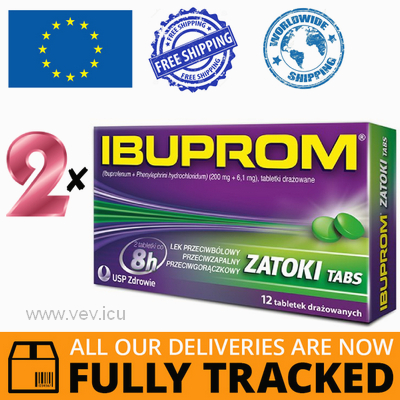 2 x IBUPROM SINUS 12 TABS — MADE IN POLAND — FREE SHIPPING