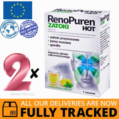 2 x RENOPUREN SINUS HOT 7 SACHETS - MADE IN POLAND - FREE SHIPPING