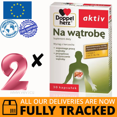 2 x DOPPELHERZ AKTIV FOR LIVER 30 TABS — MADE IN GERMANY — FREE SHIPPING