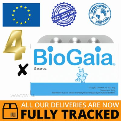 4 x BIOGAIA GASTRUS 30 TABS — MADE IN SWITZERLAND — FREE SHIPPING