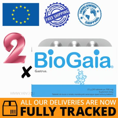 2 x BIOGAIA GASTRUS 30 TABS — MADE IN SWITZERLAND — FREE SHIPPING