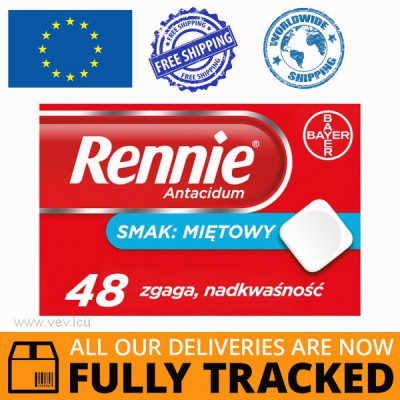 RENNIE ANTIACIDUM MINT FLAVOR 48 LOZENGES — MADE IN GERMANY — FREE SHIPPING