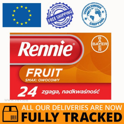 RENNIE FRUIT, FRUIT FLAVOR 24 LOZENGES — MADE IN GERMANY — FREE SHIPPING