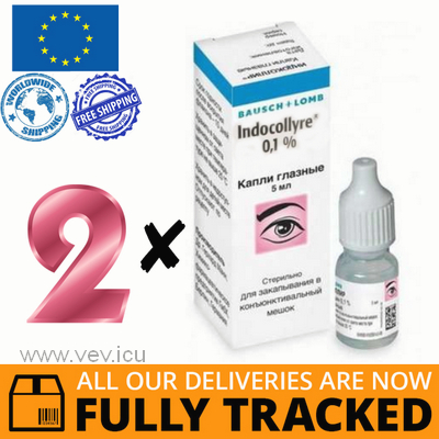 2 x INDOCOLLYRE EYE DROPS 0,1% 5ML - MADE IN USA - FREE SHIPPING