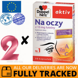 2 x DOPPELHERZ AKTIV FOR EYES WITH LUTEIN 30 CAPS - MADE IN GERMANY - FREE SHIPPING