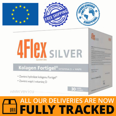 4FLEX SILVER COLLAGEN FOR JOINTS WITH CALCIUM AND VITAMIN D 30 SACHETS - MADE IN CANADA - FREE SHIPPING