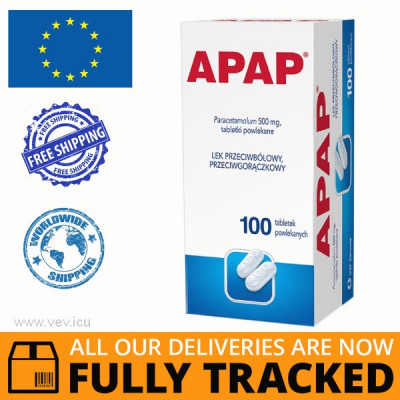 APAP 500MG 100 TABLETS - MADE IN POLAND - FREE SHIPPING