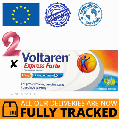 2 x VOLTAREN EXPRESS FORTE 25MG 10CAPS — MADE IN SWITZERLAND — FREE SHIPPING