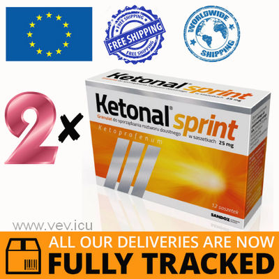 2 x KETONAL SPRINT 25MG 12 SACHETS — MADE IN POLAND — FREE SHIPPING