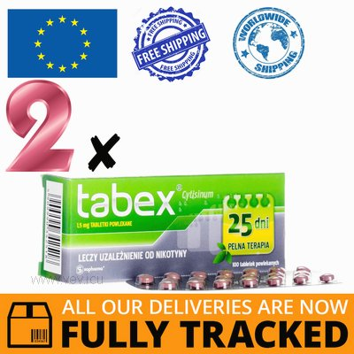 2 x TABEX 1,5 MG 100 TABS — MADE IN BULGARIA- FREE SHIPPING
