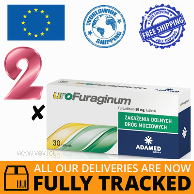 2 x UROFURAGINUM 50MG 30 TABS - MADE IN POLAND - FREE SHIPPING