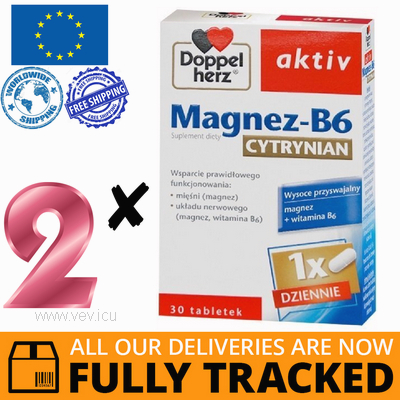 2 x DOPPELHERZ AKTIV MAGNESIUM-B6 CITRATE 30 TABS — MADE IN GERMANY — FREE SHIPPING