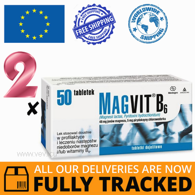 2 x MAGVIT B6 50 TABS — MADE IN ITALY — FREE SHIPPING