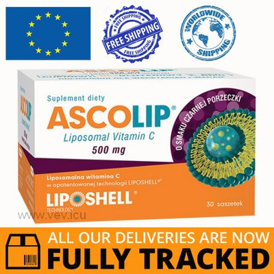 ASCOLIP LIPOSOMAL VITAMIN C BLACK CURRANT 30 SACHETS - MADE IN POLAND - FREE SHIPPING