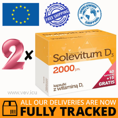 2 x SOLEVITUM D3 2000 IU, 75 CAPS - MADE IN POLAND - FREE SHIPPING