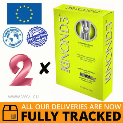2 x KINON D3 VITAMIN K2 MK 7 + D3 30 TABLETS — MADE IN POLAND — FREE SHIPPING